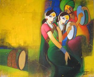 Waghya-Muruli 1 by Sudhir Bangar, Decorative Painting, Acrylic on Canvas, Green color