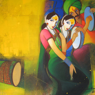 Waghya-Muruli 1 by Sudhir Bangar, Decorative Painting, Acrylic on Canvas, Green color