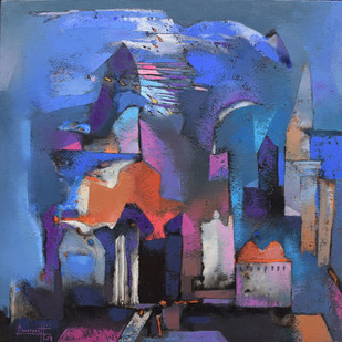 Structures by Somenath Maity, Impressionism Painting, Oil on Canvas, Blue color