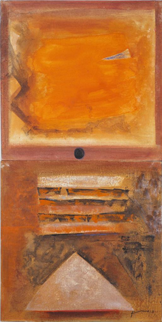 Shiv Shakti by Vijay Shinde, Geometrical Painting, Acrylic on Canvas, Brown color