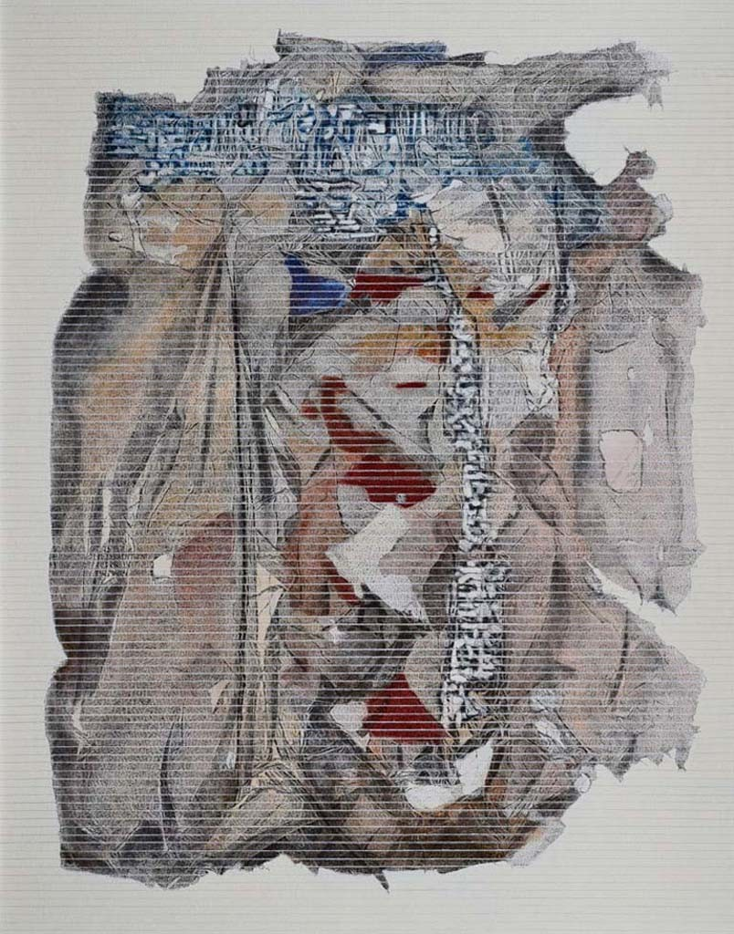 Village River by Yusuf, Abstract Painting, Acrylic & Ink on Canvas, Gray color