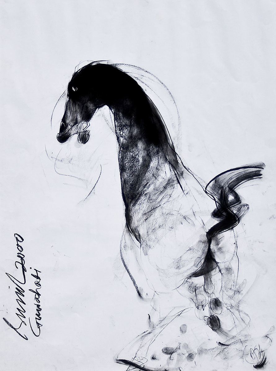 Horse by Sunil Das, Impressionism Drawing, Charcoal on Paper, Gray color