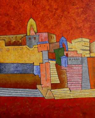 Banaras by Sandesh Khule, Decorative Painting, Acrylic on Canvas, Brown color