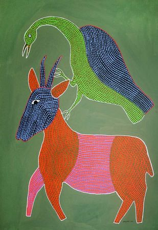 Gond Painting by Unknown Artist, Folk Painting, Acrylic on Paper, Green color