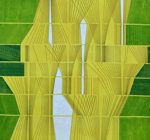 Space XXIX by S K Sahni, Geometrical Painting, Acrylic on Canvas, Green color
