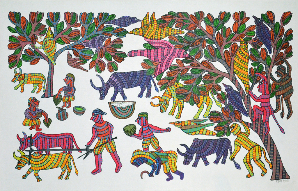 Gond Painting by Unknown Artist, Folk Painting, Acrylic on Canvas, Gray color