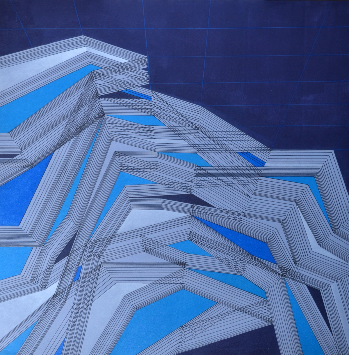 Space XXXI by S K Sahni, Geometrical Painting, Acrylic on Canvas, Blue color