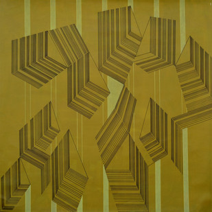 Space XXXIII by S K Sahni, Geometrical Painting, Acrylic on Canvas, Green color