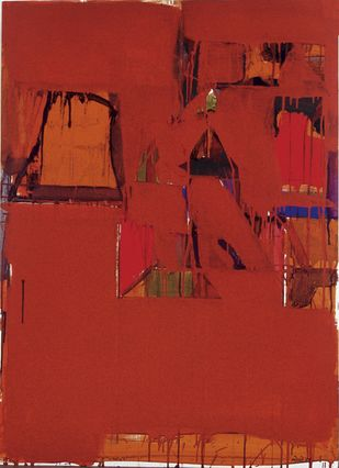 Untitled - edition of 60 by Prabhakar Kolte, Abstract Painting, Serigraph on Paper, Red color