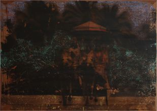 'History; Told Re-told' 1 (Series 1-8) by Saju Kunhan, Impressionism Painting, Mixed Media on Wood, Brown color