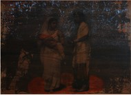 'History; Told Re-told' 2 (Series 1-8) by Saju Kunhan, Expressionism Painting, Mixed Media on Wood, Gray color
