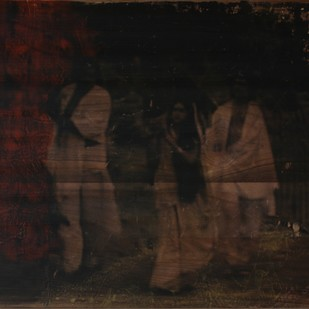 'History; Told Re-told' 3 (Series 1-8) by Saju Kunhan, Impressionism Painting, Mixed Media on Wood, Black color