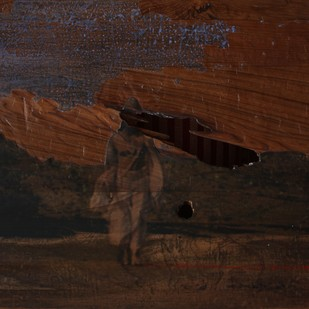 'History; Told Re-told' 4 (Series 1-8) by Saju Kunhan, Impressionism Painting, Mixed Media on Wood, Brown color