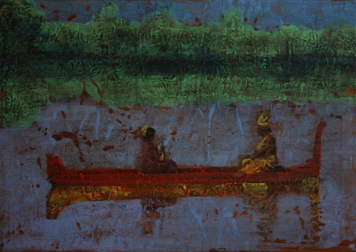 'History; Told Re-told' 6 (Series 1-8) by Saju Kunhan, Impressionism Painting, Mixed Media on Wood, Green color