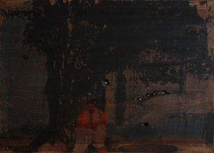 'History; Told Re-told' 7 (Series 1-8) by Saju Kunhan, Impressionism Painting, Mixed Media on Wood, Gray color
