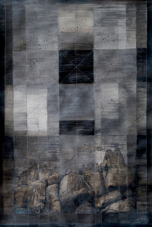Memories Dissolved by Noor Jehan Bilgrami, Geometrical Painting, Acrylic & Graphite on Canvas, Gray color