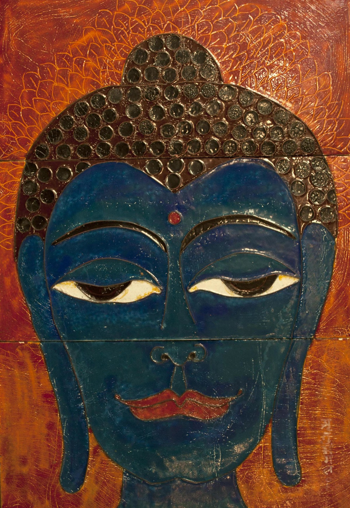 Buddha by Ritu Sangal, Decorative Painting, Vitreous Enamels on Metal, Brown color
