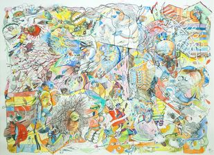 Comic Collector by Girinath Gopinath, Illustration Drawing, Mixed Media on Paper, Beige color