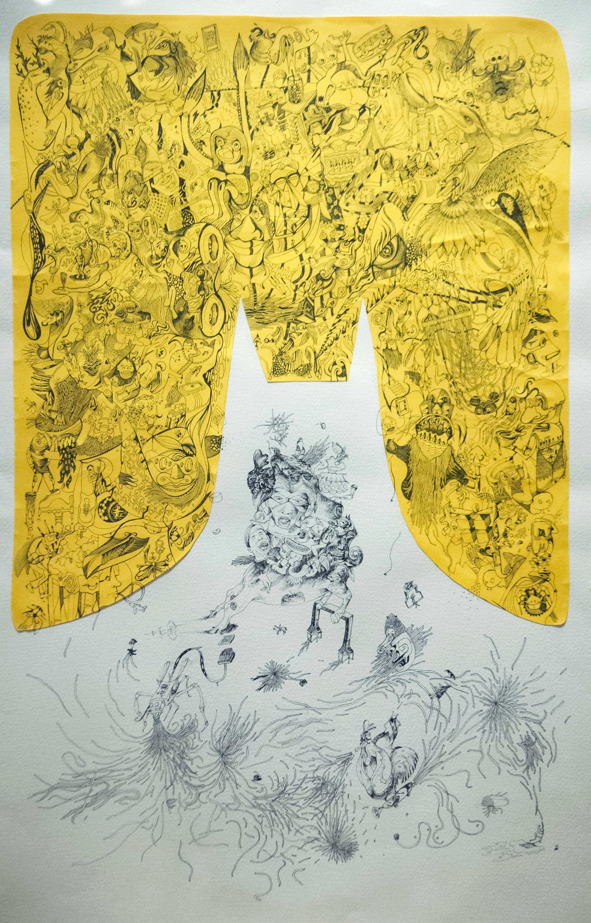 Erasing Superpower by Girinath Gopinath, Illustration Drawing, Mixed Media, Beige color