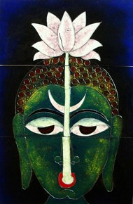 Buddha With Lotus by Ritu Sangal, Decorative Painting, Vitreous Enamels on Metal, Green color
