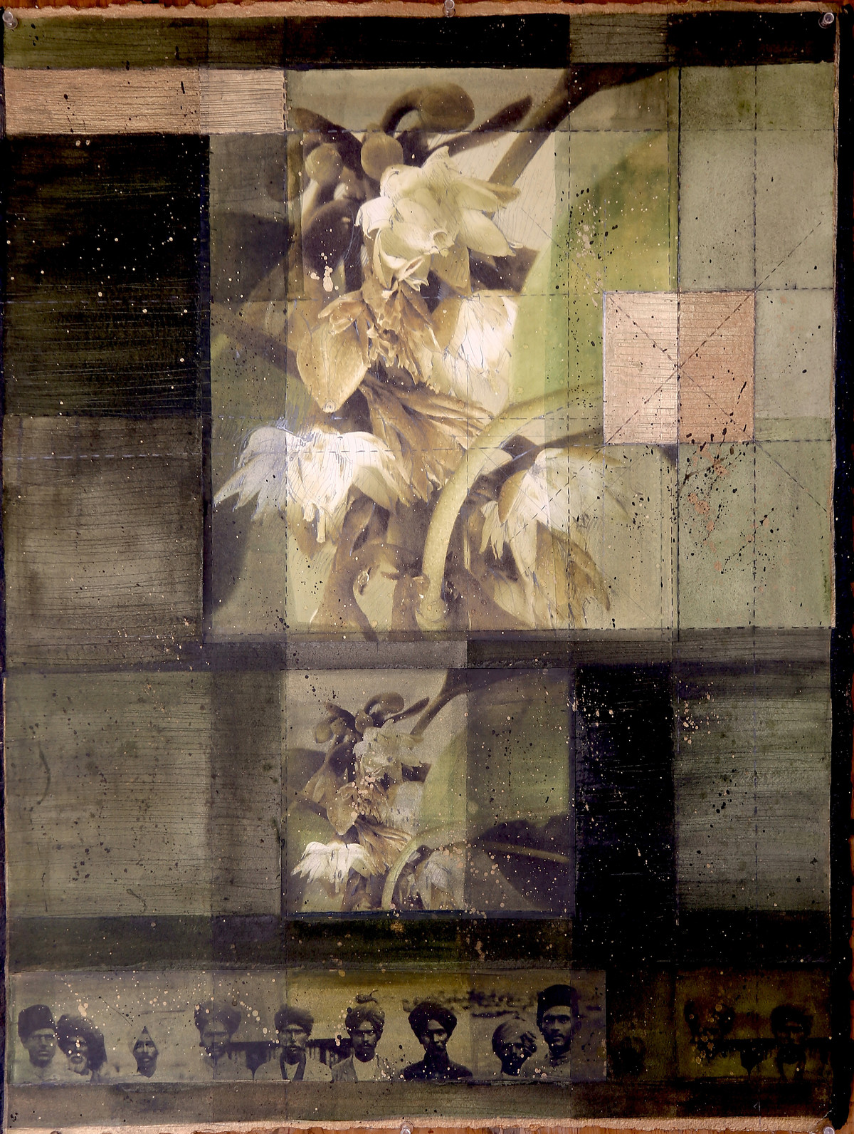 Molsri Key Saaye Taley VIII by Noor Jehan Bilgrami, Impressionism Painting, Mixed Media on Paper, Brown color