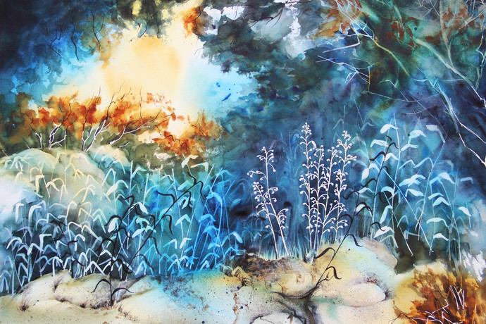 Wildflowers 2 by Nidhi Rajput Bhatia, Impressionism Painting, Watercolor on Paper, Blue color