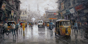 Wet Charmianar St 02 by Iruvan Karunakaran, Impressionism Painting, Acrylic on Canvas, Gray color