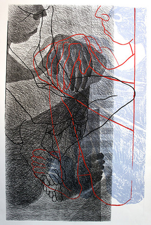 Multiple Encounter E by Anandmoy Banerji, Illustration Printmaking, Etching & Serigraph, Gray color