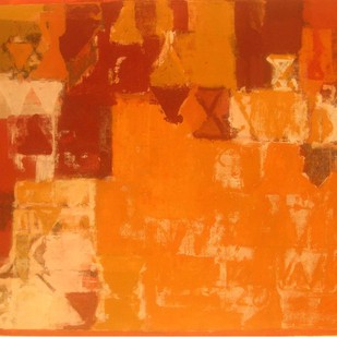 Untitled by John Tun Sein, Abstract Painting, Oil on Canvas, Orange color