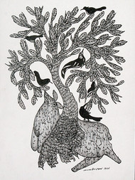 gond painting by Jangarh Singh Shyam, Illustration Painting, Pen & Ink on Paper, Gray color