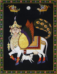 pichwai painting by Unknown Artist, Folk Painting, Stone Colour on Cloth, Gray color