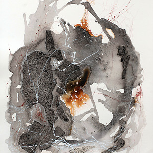 No Beginning No End XIV by Kavita Jaiswal, Abstract Painting, Acrylic & Ink on Paper, Gray color