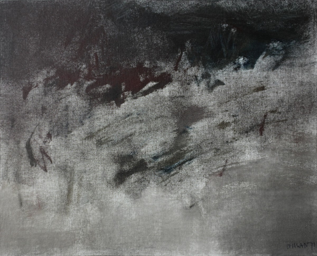 Untitled by Rajendra Dhawan, Abstract Painting, Oil on Canvas, Gray color