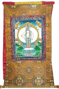 Thangka Painting by Unknown Artist, Folk Painting, Stone Colour on Cloth, Brown color