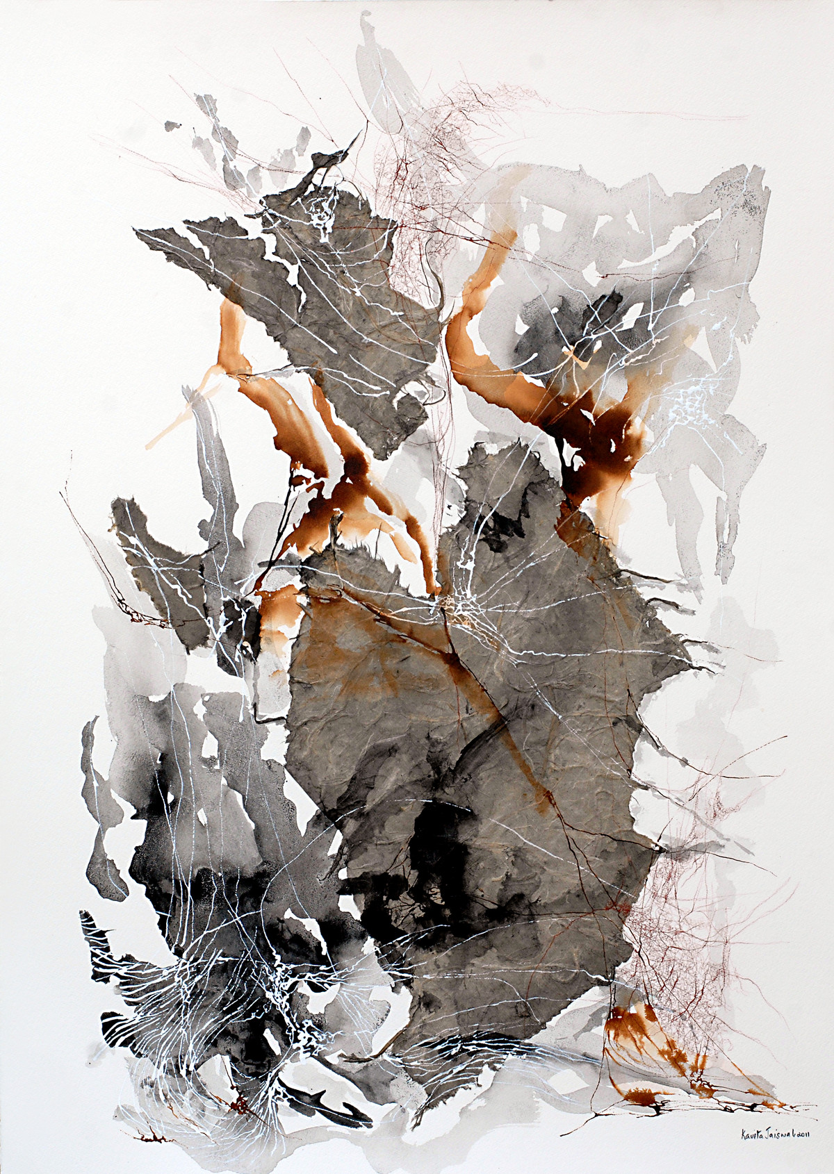 No Beginning No End X by Kavita Jaiswal, Abstract Painting, Acrylic & Ink on Paper, Gray color