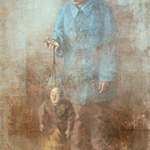 Jeux de Marionette by Wang Gang, Impressionism Painting, Acrylic on Canvas, Beige color