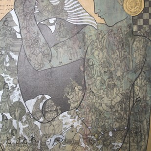 Untitled by Ramesh Gorjala, Traditional Painting, Mixed Media on Canvas, Brown color