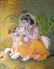 Pichwai Painting by Unknown Artist, Folk Digital Art, Stone Colour on Cloth, Beige color
