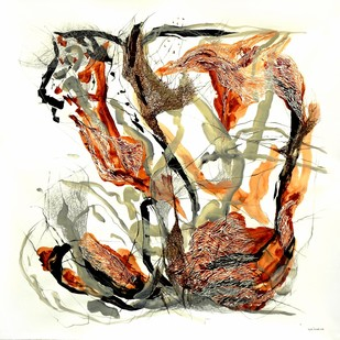 And They Never Fail To Bloom by Kavita Jaiswal, Abstract Painting, Acrylic & Ink on Paper, Beige color