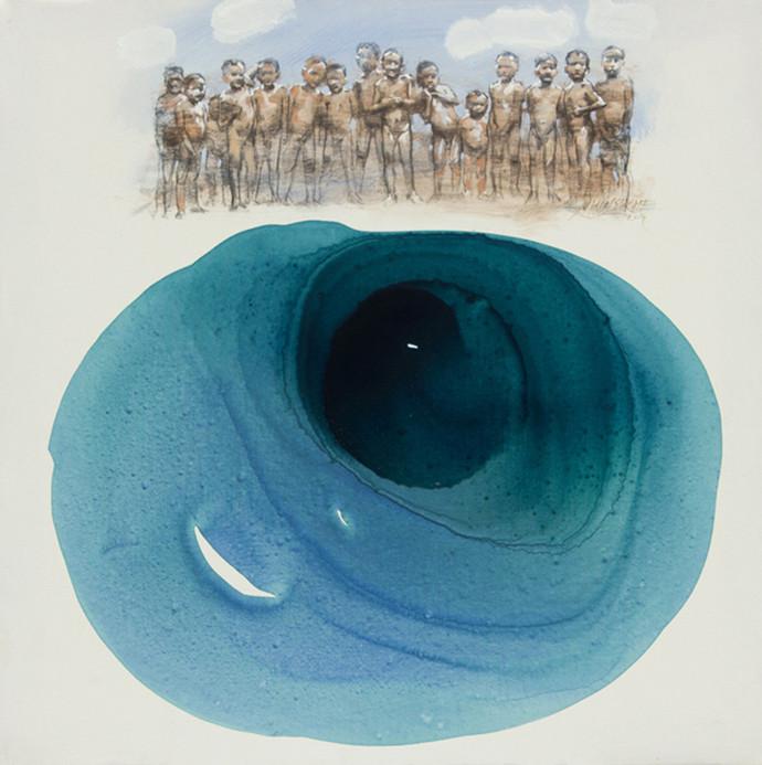 Pond (Jalshai) by Manojkumar M.Sakale, Pop Art Painting, Acrylic on Canvas, Cyan color
