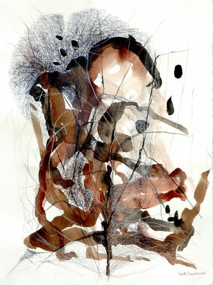 Refuge by Kavita Jaiswal, Abstract Painting, Acrylic & Ink on Paper, Brown color