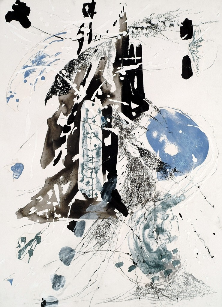 Azure by Kavita Jaiswal, Abstract Painting, Acrylic & Ink on Paper, Gray color