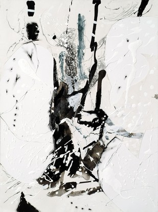 Out In The white by Kavita Jaiswal, Abstract Painting, Acrylic & Ink on Paper, Gray color