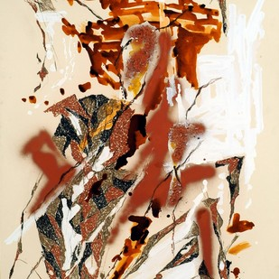Fusion II by Kavita Jaiswal, Abstract Painting, Acrylic & Ink on Paper, Beige color