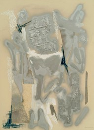 Silver Maze II by Kavita Jaiswal, Abstract Painting, Acrylic & Ink on Paper, Beige color