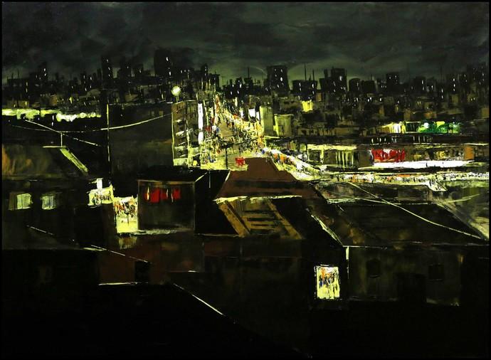 Untitled by Srinibas Lenka, Impressionism Painting, Acrylic on Canvas, Black color