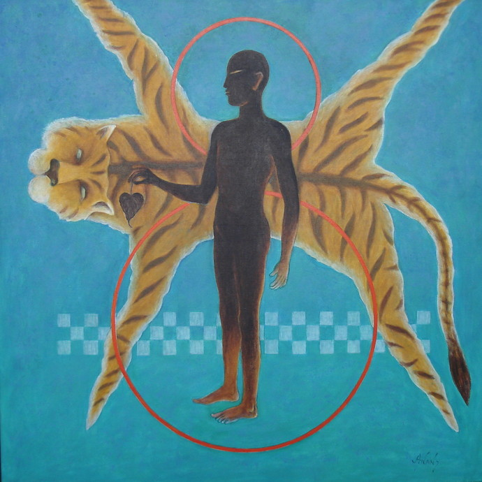 Holiness by Anant Mehta, Fantasy Painting, Acrylic on Canvas, Cyan color