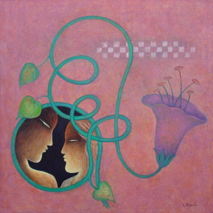 With Nature by Anant Mehta, Fantasy Painting, Acrylic on Canvas, Brown color