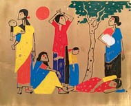 Family II by Milind Thakur, Impressionism Painting, Bronze, Brown color