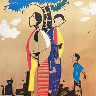 Family III by Milind Thakur, Impressionism Painting, Bronze, Beige color